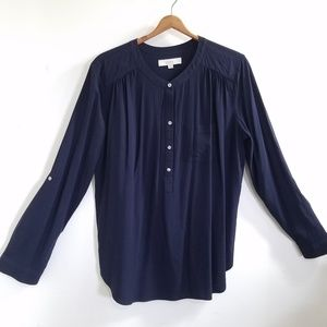 Ann Taylor LOFT Navy Blouse Large